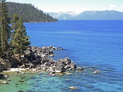 Pines Boulders And Crystal Waters Of Lake Tahoe Print by Frank Wilson