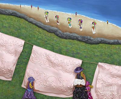 Family Gathering Sculpture - Pink Linen by Anne Klar