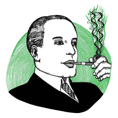 Black Tie Drawing - Pipe Smoking by Karl Addison