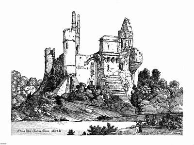 Chateau Mixed Media - Plessis Mace Chateau France 1200ad. by John Cullen