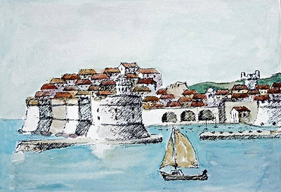 Changing Leaves Drawing - Port Of Dubrovnik by Joseph Hendrix