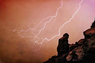 Praying Monk Camelback Mountain Lightning Monsoon Storm Image Tx Print by James BO  Insogna