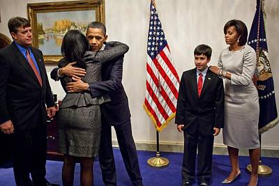 Obama Family Photograph - President And Michelle Obama Greet by Everett