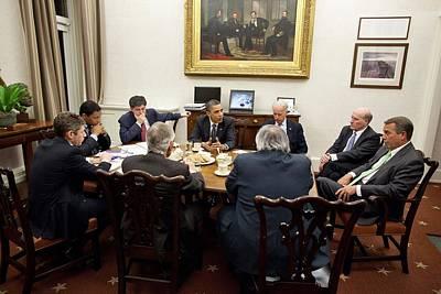 President Obama And Vp Joe Biden Hold Print by Everett