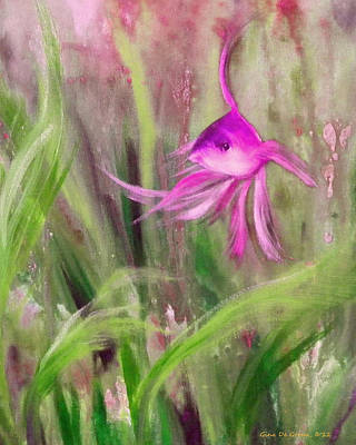 Purple Fish Print by Gina De Gorna
