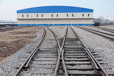 Railway Shed And Sidings. Bright Blue Print by Guang Ho Zhu