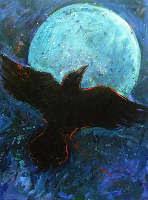Black Bird.flying Art Painting - Raven And Blue Moon by Carol Suzanne Niebuhr