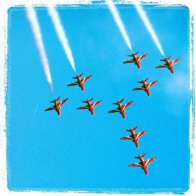 Airplane Photograph - Red Arrows Airshow - Aircrafts Flying In Formation by Matthias Hauser
