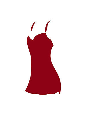 Fashion Abstract Art Drawing - Red Dress by Frank Tschakert