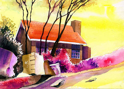 Red House Print by Anil Nene