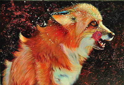Red Fox Painting - Red Night  by Kelly McNeil