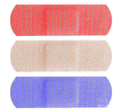 Red White And Blue Bandaids Print by Blink Images