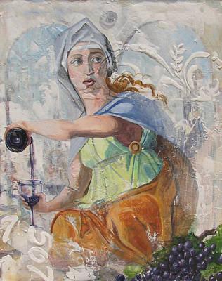 Italian Wine Painting - Renaissance Woman by James Scrivano
