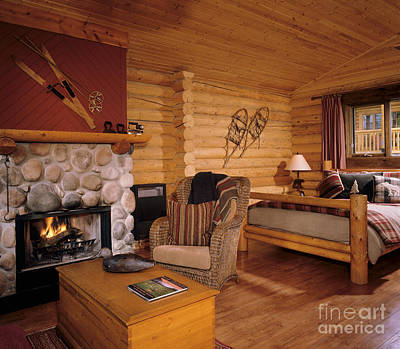 Resort Log Cabin Interior Print by Robert Pisano