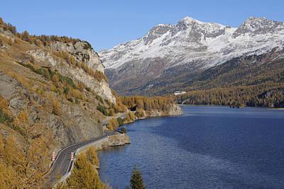 Road Along Lake Sils In Autumn, Piz Surlej And Munt Arlas, St Moritz, Maloja District, Engadin, Graubunden, Switzerland Print by Martin Ruegner