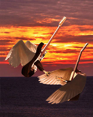 Flying Guitars Digital Art - Rock Guitar Edge by Eric Kempson