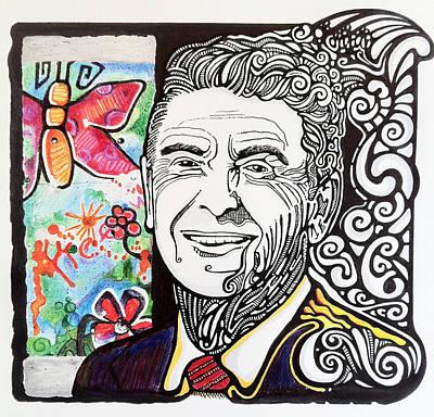 Ronald Reagan - Berlin Wall Print by Ben Gormley