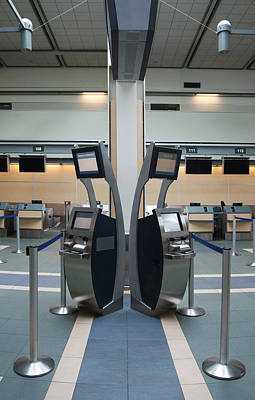 Rows Of Closed Check In Desks Print by Marlene Ford
