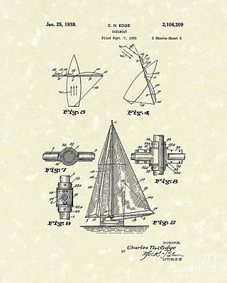 Sailboats Drawing - Sailboat 1938 Patent Art by Prior Art Design