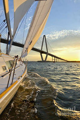Sailing On The Charleston Harbor During Sunset Print by Dustin K Ryan