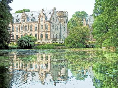 Changing Leaves Drawing - Schloss Paffendorf Germany by Joseph Hendrix
