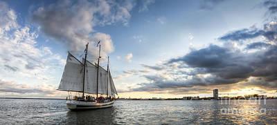 Sailboat Photograph - Schooner Pride Sunset Charleston Sc by Dustin K Ryan