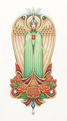 Jewels Drawing - Scroll Angel - Roselind by Amy S Turner