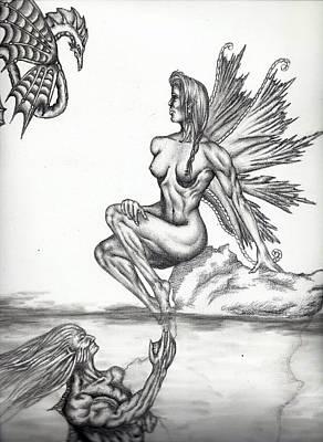 Pegasus Drawing - Secret Admirer by Audrey Snead