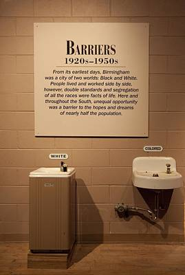 Segregated Water Fountains On Display Print by Everett