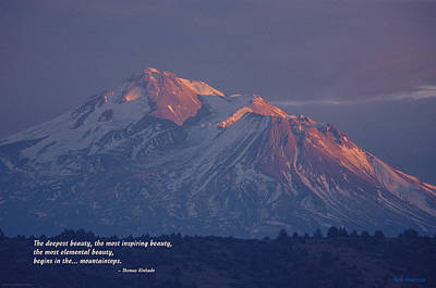 Shasta Winter Twilight Print by Mick Anderson