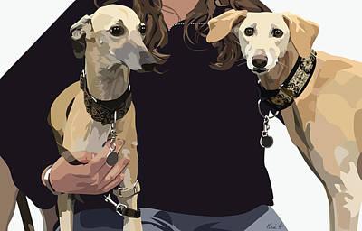 Pet Portraits Digital Art - Sighthounds II by Kris Hackleman