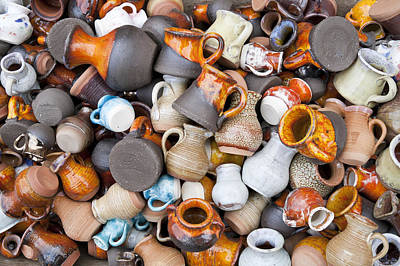 Small Ceramic  Jugs And Cups Macro Print by Aleksandr Volkov