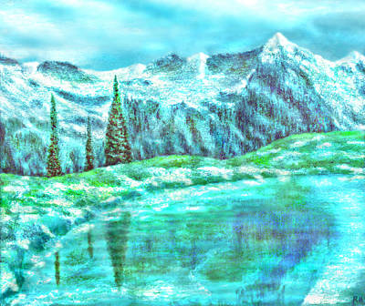 Landscape Painting - Snowy Mountain Reflections by Ronald Haber