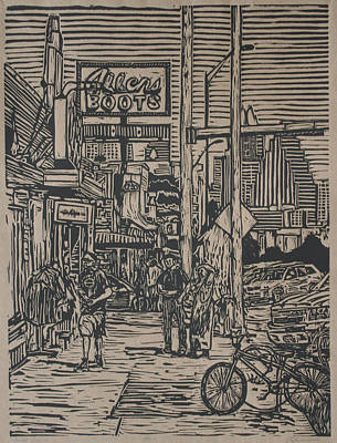 Linoluem Drawing - South Congress by William Cauthern