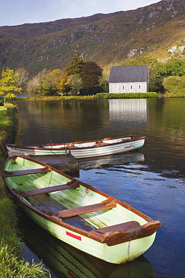 Gougane Barra Photograph - St. Finbarres Oratory And Rowing Boats by Ken Welsh