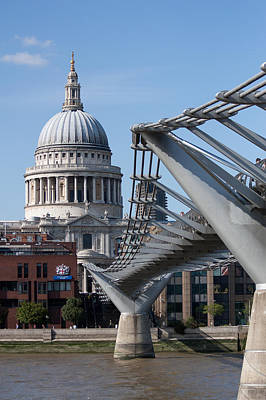London Skyline Photograph - St Pauls And Millennium Bridge by Dawn OConnor