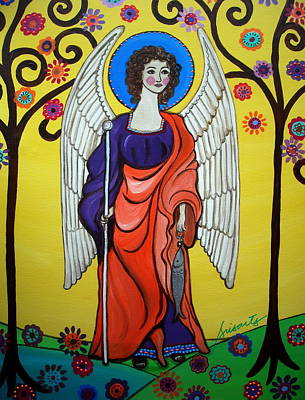 Angel Painting - St Raphael Archangel by Pristine Cartera Turkus