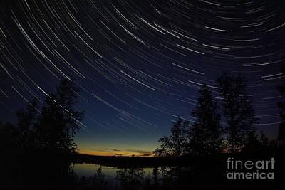 Yellowknife Photograph - Star Trails At Dusk by Yuichi Takasaka