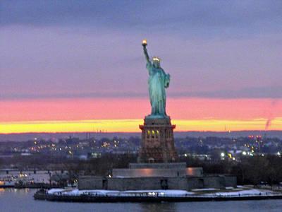Statue Of Liberty At Sunset Print by Mircea Veleanu