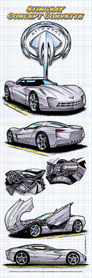 Show Car Corvettes Drawing - Stingray Concept Corvette by K Scott Teeters