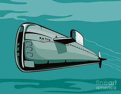 Us Navy Digital Art - Submarine Boat Retro by Aloysius Patrimonio