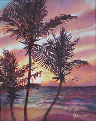 Fiber Art Painting - Sunrise At Cattlewash 1 by Deborah Younglao