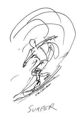 Watersports Drawing - Surfer  by Sam Chinkes