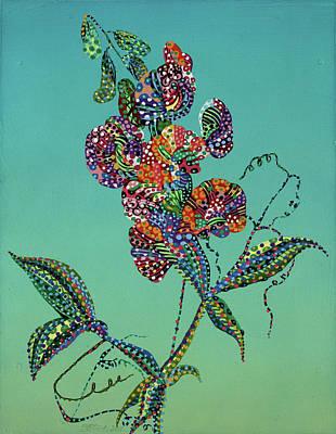 Plants Painting - Sweet Pea by Erika Pochybova