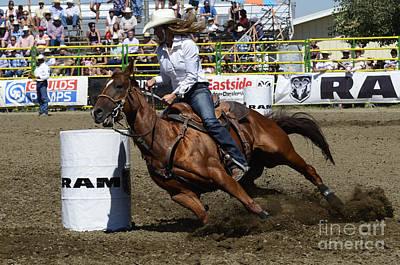 Barrel Racing Photograph - Rodeo Barrel Racing Teamwork by Bob Christopher