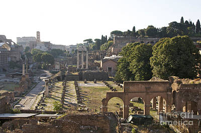 Temple Of Vesta Arch Of Titus. Temple Of Castor And Pollux. Forum Romanum Print by Bernard Jaubert