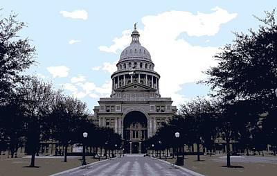 Capitol Building Digital Art - Texas Capitol Color 6 by Scott Kelley