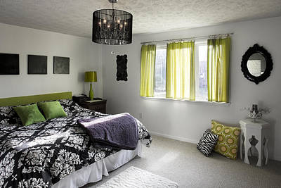Bedside Table Photograph - The Master Bedroom Of A House by Christian Scully
