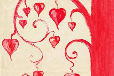 Tree Of Heart Painting On Paper Print by Setsiri Silapasuwanchai