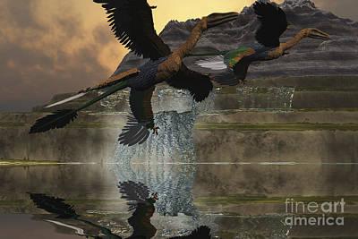 Microraptor Digital Art - Two Microraptor Dinosaurs Fly by Corey Ford